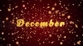 December-de tekst glanzende deeltjes van de Groetkaart voor viering, festival vector illustratie