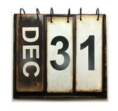 December 31. With vintage calendar on white background stock illustration