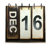 December 16. With vintage calendar on white background stock images