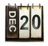 December 20. With vintage calendar on white background royalty free stock photo