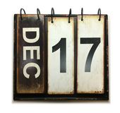 December 17. With vintage calendar on white background royalty free stock photos
