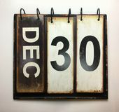 December 30. With vintage calendar royalty free stock images