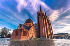 December 04, 2016: Domkyrkan av St Luke i Roskilde, Denm Royaltyfria Bilder