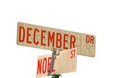 December Dr och Noel St Signs Arkivbilder