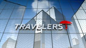 Editorial, The Travelers Companies, Inc. logo on glass building.