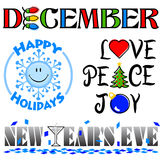 December Events Clip Art Set/eps. Illustrated headlines for December events including a Happy Holidays winter smiley face, Love, Peace and Joy for Christmas and Royalty Free Stock Images
