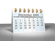 december för kalender 2009 3d skrivbord stock illustrationer