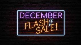 DECEMBER FLASH SALE neon light on wall. Sale banner blinking neon sign style for promo video. concept of sale and clearance