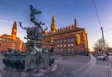 02 december, 2016: Fontein door het Stadhuis van Kopenhagen, Denm Stock Fotografie