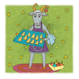 December goat. Joyful goat with the best cookies ever Stock Image
