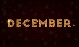 December . Golden glitter greeting card. Luxurious design element, vector illustration Royalty Free Illustration