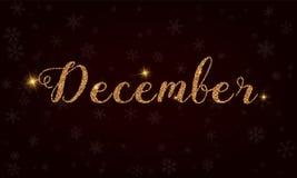 December . Golden glitter hand lettering greeting card. Luxurious design element, vector illustration Stock Illustration