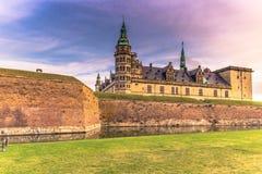 03 december, 2016: Gracht van Kronborg-kasteel, Denemarken Stock Afbeeldingen