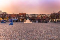03 december, 2016: Het centrum van de oude stad van Helsingor, Denm Royalty-vrije Stock Afbeeldingen