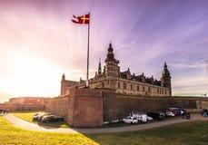 03 december, 2016: Het kasteel van Kronborg met stralen van licht, D Stock Afbeeldingen
