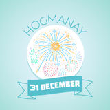 31 December Hogmanay. Calendar for each day on December 31. Greeting card. Holiday - Hogmanay, New Year`s Eve. Icon in the linear style Royalty Free Stock Photography