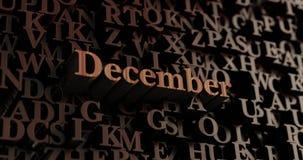 December - Houten 3D teruggegeven brieven/bericht Royalty-vrije Stock Foto