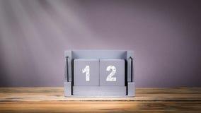 12 December houten kalender in motie stock videobeelden