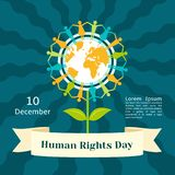 December human rights day concept background, flat style royalty free illustration
