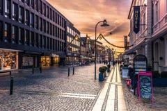 December 04, 2016: Huvudsaklig gata av Roskilde, Danmark Fotografering för Bildbyråer