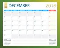 DECEMBER 2018, illustration vector calendar or desk planner, weeks start on Monday Stock Image