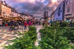 December 05, 2016: Ingången till julen marknadsför i central C Arkivbilder