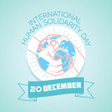 20 December international human solidarity day. Calendar for each day on December 20. Greeting card. Holiday - international human solidarity day. Icon in the vector illustration