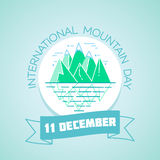 11 december  International Mountain Day. Calendar for each day on december 11. Greeting card. Holiday -   international mountain day. Icon in the linear style Royalty Free Stock Photo