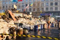 December 2013 Januari Februari 2014, Kiev, de Oekraïne: Euromaidan, Maydan, Maidan detailes van barricades Stock Foto's