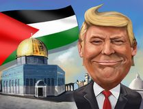 Cartoon of United States recognition of Jerusalem as Israeli cap. December 17, Jerusalem themed cartoon of Donald Trump - Illustration of the American President Royalty Free Stock Photography