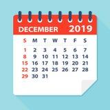 December 2019 kalenderblad - vektorillustration stock illustrationer
