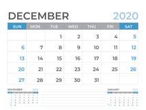 December 2020 kalendermall, format för skrivbordkalenderorientering 8 x 6 tum, stadsplaneraredesign, veckastarter på söndag, brev stock illustrationer
