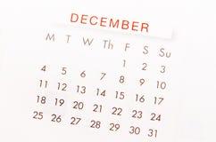 December kalendersida Royaltyfri Foto