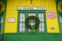 La Grange Railroad museum architectural closeup detail. December 30, 2015 La Grange, Texas, USA: the La Grange Railroad Museum building built in 1897 Royalty Free Stock Image
