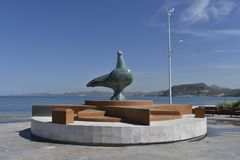 December, La Paz, Mexico, the dove of peace in the city`s mausoleum with the same name. THIS IS ONE OF THE MANY WORKS THAT ARE FOUND BY THE COASTAL MALECON OF royalty free stock photo