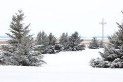 December landssnöfall i landet Royaltyfri Foto
