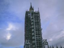 28 december, 2017, Londen, Engeland - het vernieuwingswerk die aan de Big Ben-klok worden gedaan Stock Afbeeldingen