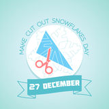 27 December Make Cut Out Snowflakes Day. Calendar for each day on December 27. Greeting card. Holiday - Make Cut Out Snowflakes Day. Icon in the linear style Stock Photography