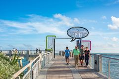 South Point Pier in Miami Beach stock images