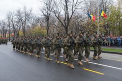 December 1 - Military parade of the national day of Romania. Stock Photo