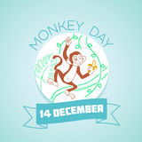 14 December Monkey Day. Calendar for each day on december 14. Greeting card. Holiday - Monkey Day. Icon in the linear style Vector Illustration