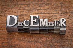 December month in metal type Stock Image