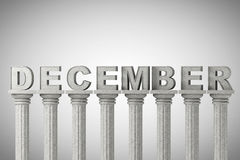 December month sign on a classic columns Stock Photos
