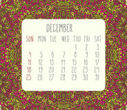 December 2016 monthly calendar. December 2016 vector monthly calendar over lacy doodle hand drawn background, week starting from Sunday Royalty Free Stock Photography