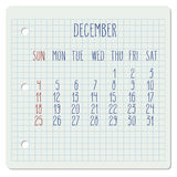 December 2016 monthly calendar Royalty Free Stock Image