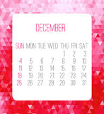 December 2016 monthly calendar Royalty Free Stock Photos