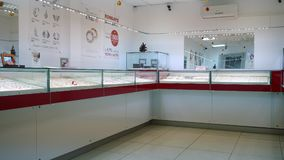 December 30, 2017, Mtsensk, Russia, Editorial - Showcase of a jewelry store. Silver and gold items with precious stones. December 30, 2017, Mtsensk, Russia stock video footage