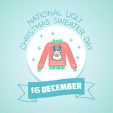16 December National Ugly Christmas Sweater Day. Calendar for each day on  December 16. Greeting card. Holiday - National Ugly Christmas Sweater Day. Icon in the Stock Photos