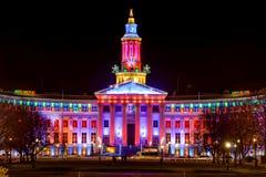 December natt på Denver City Hall Arkivfoto