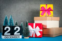 December 22nd. Image 22 day of december month, calendar at christmas and new year background with gifts and little Royalty Free Stock Photo